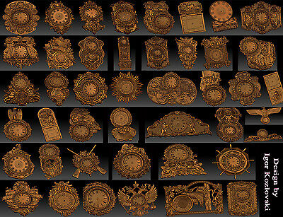 45 pieces Clock Collection 3d stl models for CNC  -  RLF ARTCAM