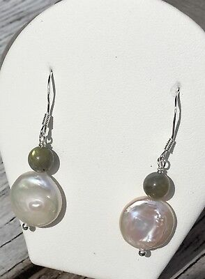 Awesome Earrings 925 Silver 10 Mm Freshwater Cultured Pearl Labradorite