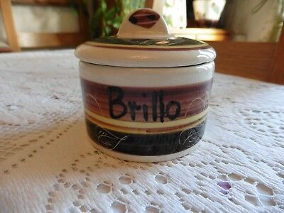 Vintage Welsh  Dragon Pottery Brillo Pad, Pot with Lid