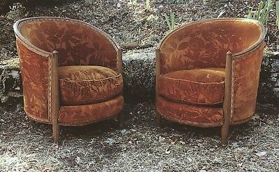 Pair Of Antique French Tub Chairs In Original Velvet. Country House Armchairs