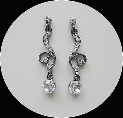 Vintage Style Fashionable Earrings with Clear Crystals Black Tone E1334