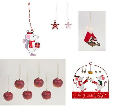 Sass&Belle Christmas Tree Party Ornaments Decorations Napkins Stars Apples Mouse