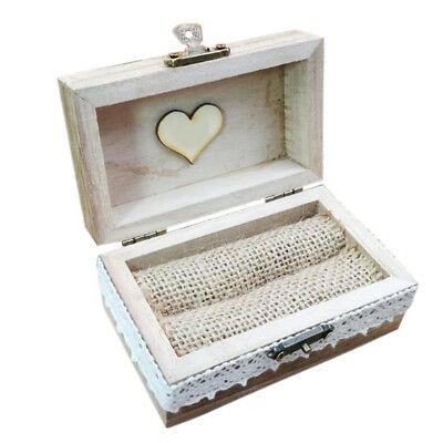 Wooden Ring Box Wedding Holder Engagement Proposal Vintage Style Personalized