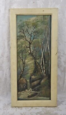 Antique 19th Century White Mountain Oil Painting Birch Trees River Landscape