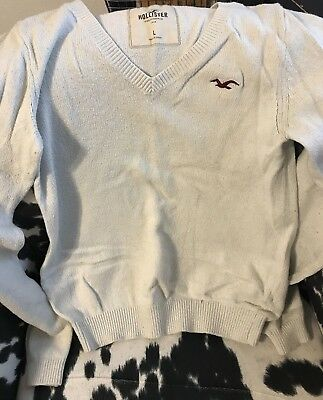 Hollister V-Neck Light Weight Sweater Size Kids Large-Off white