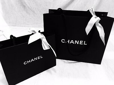 a724d07cbfb2 CHANEL *Authentic Set of 2 Paper Shopping Gift Bags With Ribbons Various  Size
