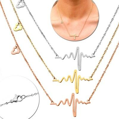 Heartbeat Necklace Chain Women Jewellery Pendant Stainless Steel Love Frequency