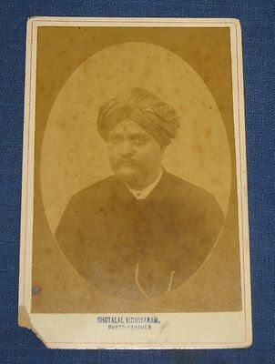 Vintage Rare Cabinet Photographs Of Royal Indian Person With Turban On His Head