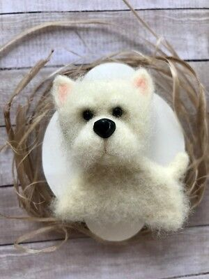 Organic ECO Friendly Needle Felted DOG White Terrier Maltese Lover Brooch / Pin