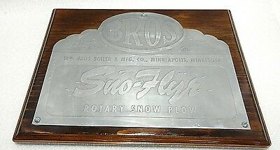 Vintage Williams Brothers Sno Flyr Rotary Snow Plow Plaque