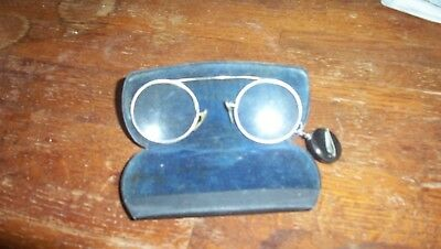 Antique eyeglasses and case with fob attached to glasses