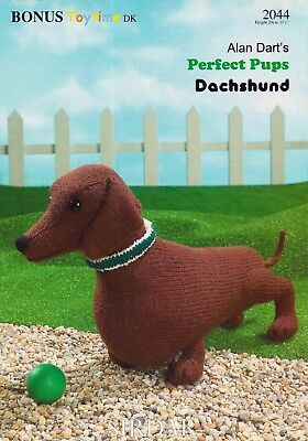 Alan Dart Perfect Pups Dachshund Dog  Toy Knitting Pattern Very Good Condition