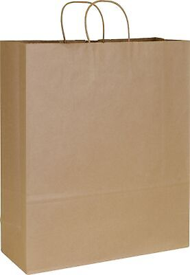 200 Kraft Paper Brown Paper Bags Shoppers Queen 16 x 6 x 19""
