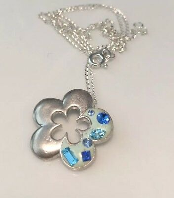 Beautiful Vintage Sterling Silver Crystal And Enamel Flower Pendant Necklace