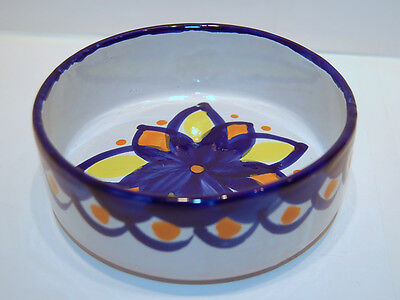 Spain Granada Handmade Red Clay Bowl Handpainted Floral Graphic