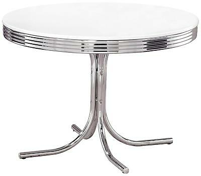 "42"" Retro Dining Table Chrome 50's Diner Style Round Kitchen Furniture Vintage"
