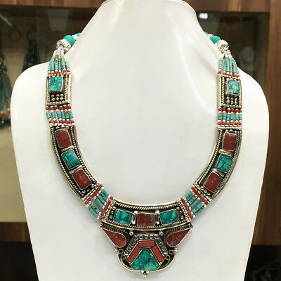 OCT87 - Turquoise & coral Tribal Bohemian Big Necklace