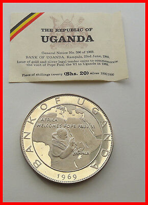 Uganda 1969 Pope Visit With Globe 25 Shillings 1.6oz Silver Coin,Proof