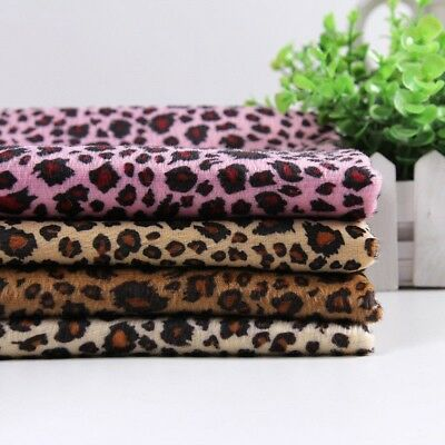 Leopard Print Flannelette Fabric Faux Fur Cotton Upholstery Crafts Coat Material