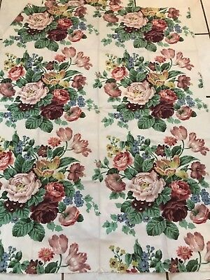 VINTAGE ACOLORTESTED FABRIC BEST OBTAINABLE VAT DYES MATERIAL PEONY FLOWER 48x60
