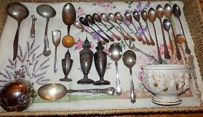 Old Silver Plate Lot & Sterling Sugar Tongs Much Misc. Mixed Silver Plate Pcs.
