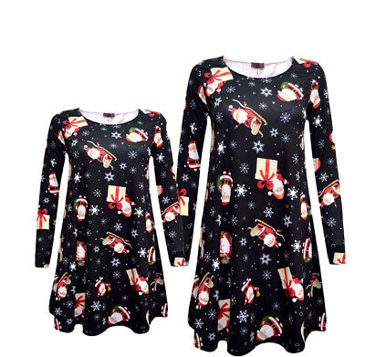 NEW BABIES GIRLS MOTHER DAUGHTER XMAS SANTA FATHER SWING DRESS 6MON TO 24//26