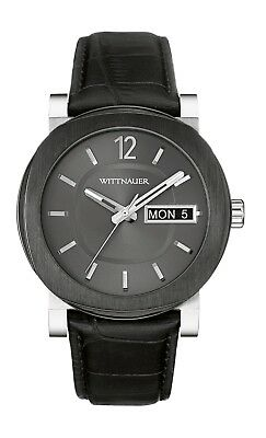 Wittnauer Men's WN1000 Gunmetal Dial Day/Date Black Leather Strap 42mm Watch