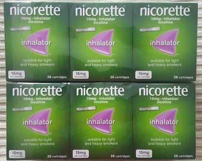 Nicorette Inhalator Nicotine, 15 mg 6 x 36 Cartridges NEW
