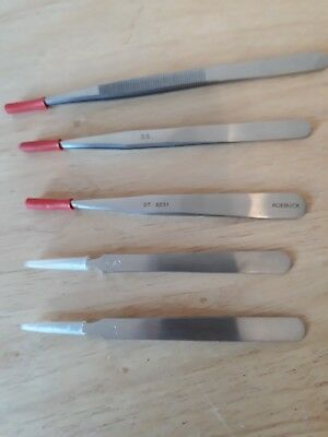 Precision Tweezers - Pack of 5 Assorted Stainless Steel Tweezers