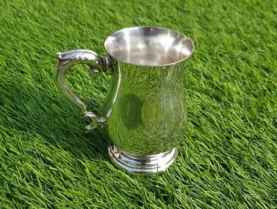 Vintage antique Mappin & Webb silver plate cup drinks tankard half pint English
