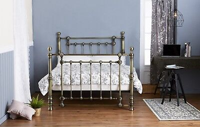 "Bnib Victorian Style Antique Brass Effect 4'6"" Double Metal Bed Frame & Slats"