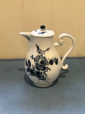 c1780 MEISSEN DOT PERIOD PORCELAIN JUG & COVER, BLUE & WHITE, FLORAL/INSECTS
