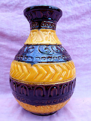 Large Vintage West German Bay Yellow & Brown Vase By Bay Keramik Lovely Conditio