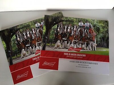 """Two (2)  2019 Budweiser Clydesdales Calendars   """"this Is Beer Country"""""""