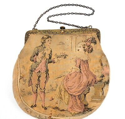Antique Petit Point Purse French Tapestry Hand Bag Romantic Scene