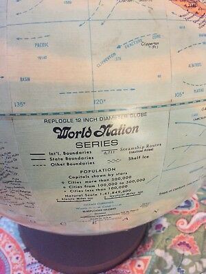 "Vintage 1970s REPLOGLE WORLD NATION SERIES Raised Relief 12"" Globe w/ USSR"