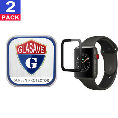 "(2Pack) GLASAVE Apple watch 1 2 3 42mm ""3D CURVED"" FULL Tempered Glass Protector"