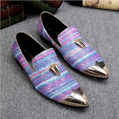 Mens Glitter Sequins Brogue Slip On Dress Formal Nightclub Shoes Loafers Casual