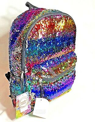 "Wonder Nation Rainbow 2-Way Sequins 16"" Backpack School Book Bag FREE Surprise"