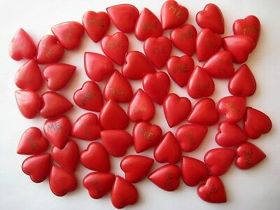 40's VINTAGE Celluloid Cherry Red Puffy VALENTINE'S DAY HEARTS Charm Pendant LOT