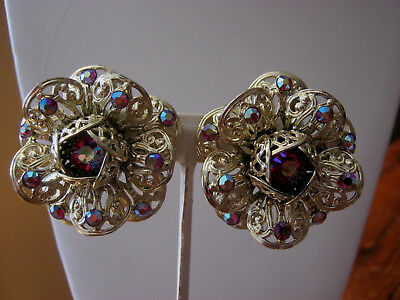 Sarah Coventry vintage large red aurora borealis gold tone clip on earrings, WOW
