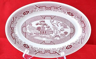 """4 Pink Red Willow 10"""" Oval platter Vitrified China Restaurant Ware Sterling USA"""
