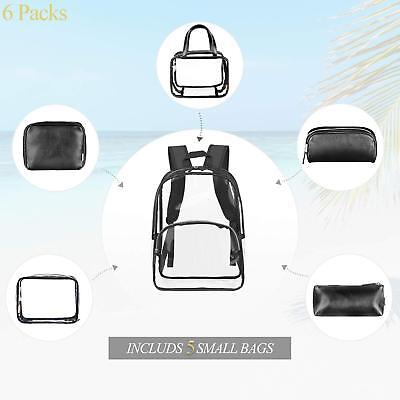 Clear Backpack Include 5 Cosmetic Makeup Bags Transparent PVC College Bookbag