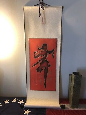 Antique Japanese Painting Geisha Girl Scroll-Large- Asian Art Beautiful Vintage