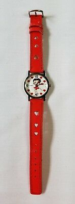 """Vintage Betty Boop """"Manual Wind"""" Watch with Red Heart Band - Excellent condition"""