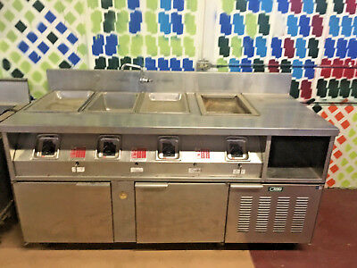 Stainless steel food warming / prep table with refrigerated cabinets