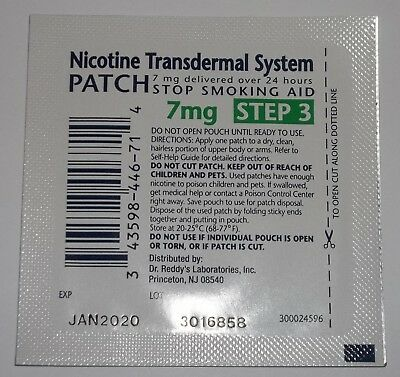 Nicotine Transdermal System 7MG Single Patches Exp 1/20 Rugby Step 3