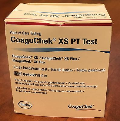 Roche CoaguChek XS PT Test Strips with Code Chip 48/bx 04625315 019 Exp: 2020-03