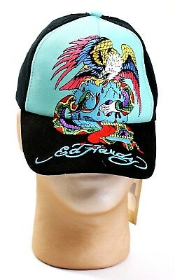 Ed Hardy Kids Black & Blue Embroidered Eagle Graphics Youth Boy's One Size NWT