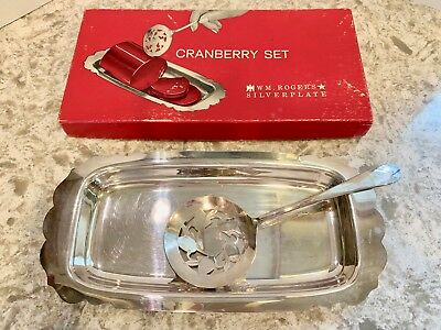 WM Rogers Silverplate Cranberry Set Server and Tray in Orig. Box  - NICE!